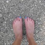10.08., 10.19 Uhr,  im kalten Wasser werden die Zehen blau